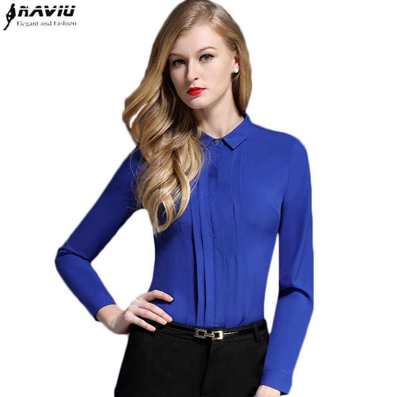 2017 fashion career women blouses OL formal pleated long ...