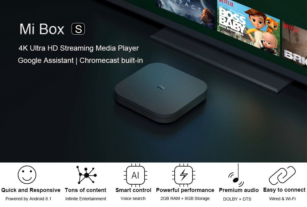 New Xiaomi Mi Box S 4K TV Box Cortex-A53 Quad Core 64 bit Mali-450 1000Mbp Android 8.1 2GB + 8GB HDMI2.0 2.4G5.8G WiFi BT4.2 TV Box (1)