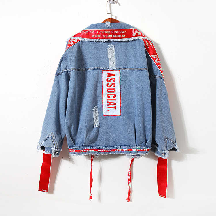 Unisex Vintage Tasarım Delikleri Ceket Kadınlar Yüksek Sokak Yıpranmış Denim Ceket Artı Boyutu Gevşek Düzensiz Hırka manteau