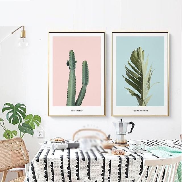 Modern Nordic Sweet Tropical Plants Cactus Green Leaves