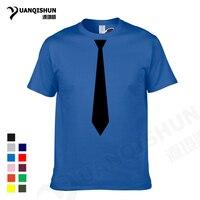 YUANQISHUN Boutique T Shirt Korean Fashion Necktie Print T Shirt Men S Casual Short Sleeve Shirt