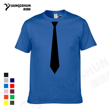 YUANQISHUN Boutique T-shirt Korean Fashion Necktie Print T Shirt Men's Casual Short Sleeve Shirt Top Tee Hip-hop Funny Tshirt