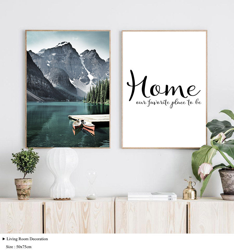HTB1pK1gelCw3KVjSZR0q6zcUpXaA Mountain Lake Waterfall Picture Scandinavian Poster Nordic Style Print Nature Scenery Wall Art Canvas Painting Modern Room Decor
