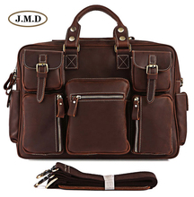 J.M.D Genuine Leather Multi-Compartment Design Classic Men's Fashion Briefcases Laptop Handbag Busniess Messenger Bag 7028R-1