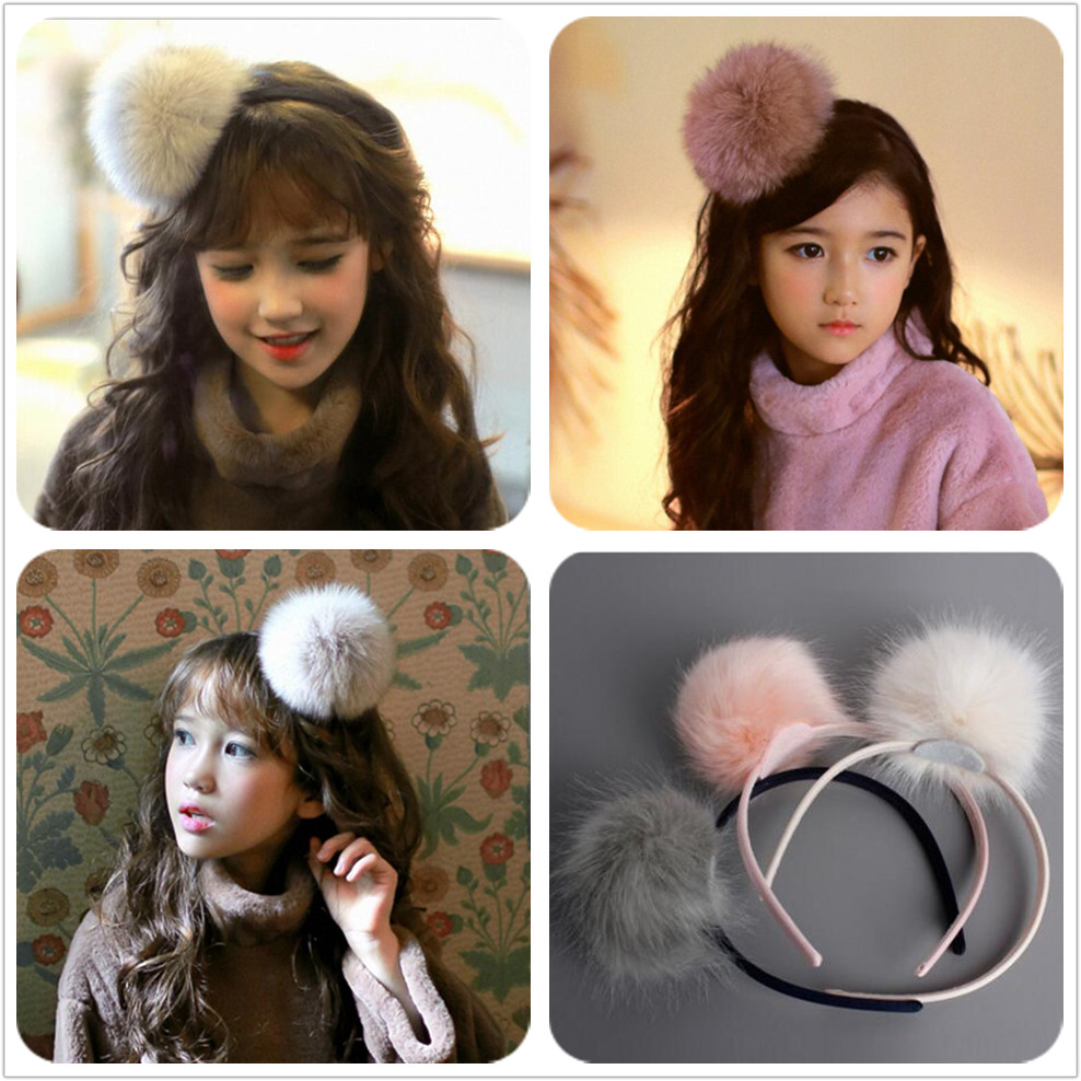 Big Furry Pom Pom Ball Hairbands Light Peac Cream and Grey School Girl Hair Bands Handmade Teen student Birthday accessories  G7 коляска трость esspero all season cream light grey