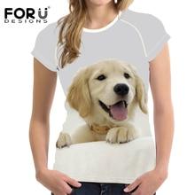 FORUDESIGNS Golden Retriever 3D Printed Short Sleeved Women Top Female Fashion Shirt Ladies T-shirts Summer Casual Tshirt