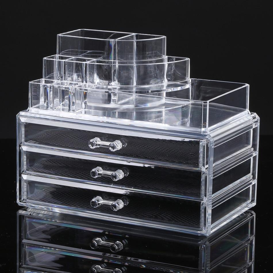 Acrylic Makeup Organizer Storage Box Case Cosmetic Jewelry 4 Drawer