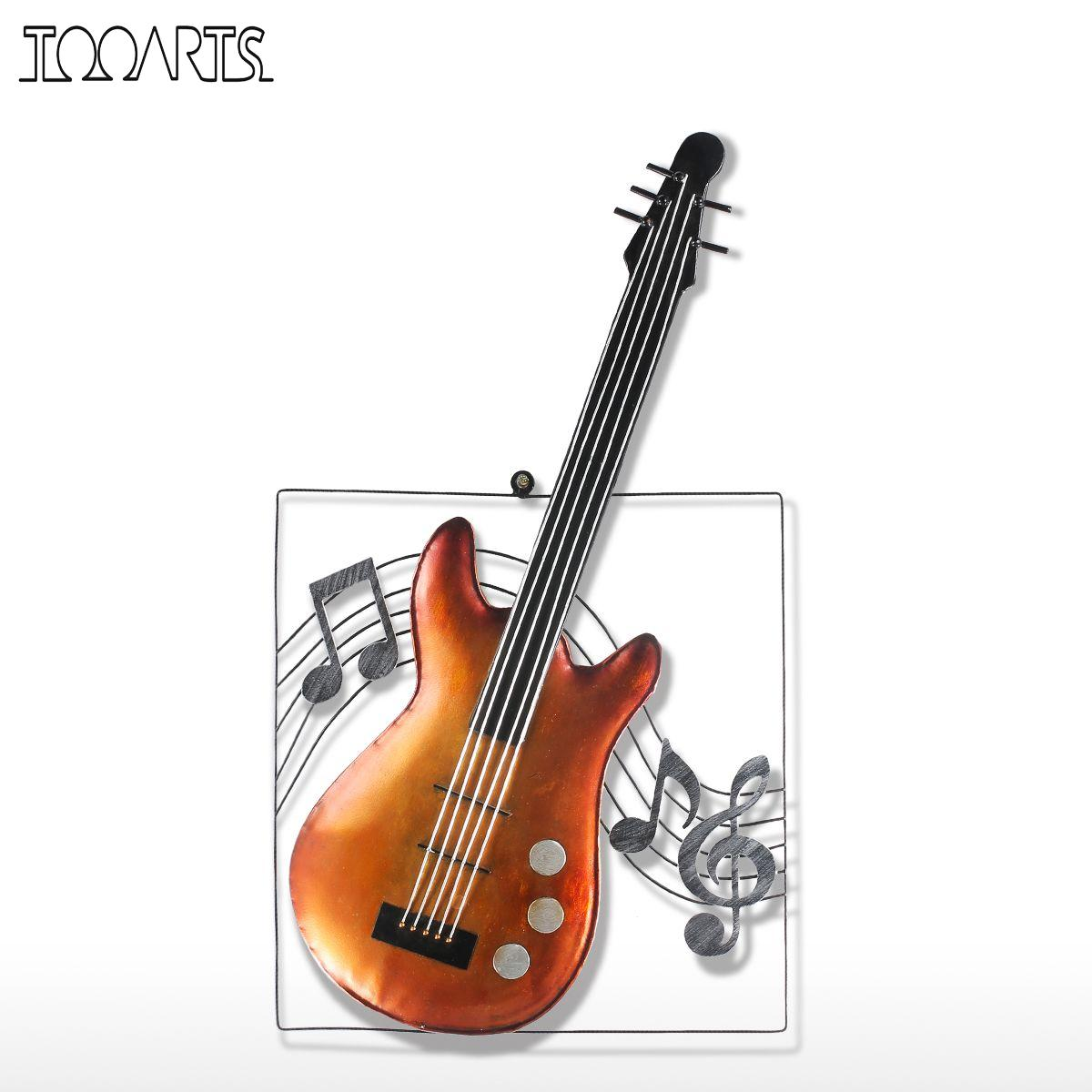 Musical instruments ornaments - Tooarts Guitar Musical Elements Figurine Ornament Modern Metal Home Decor Wall Hangings Decor Music Theme Instrument