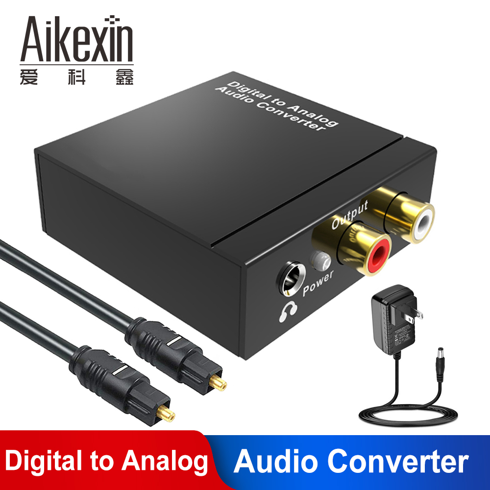 Digital to Analog DAC <font><b>Audio</b></font> Converter Coax <font><b>Optical</b></font> to RCA R/L <font><b>3.5mm</b></font> Adapter with AUX <font><b>3.5mm</b></font> <font><b>Jack</b></font> out with Toslink <font><b>cable</b></font> image