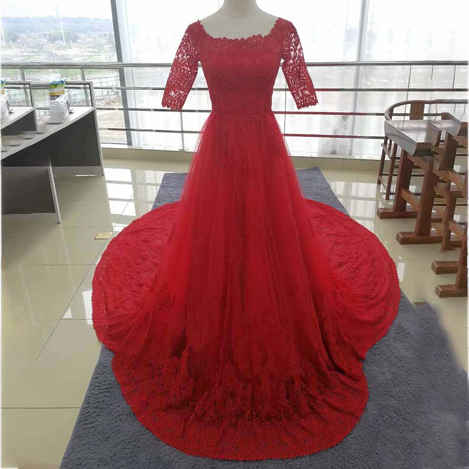 Clearance Cheap Sale A Line Red Wedding Dress High Quality