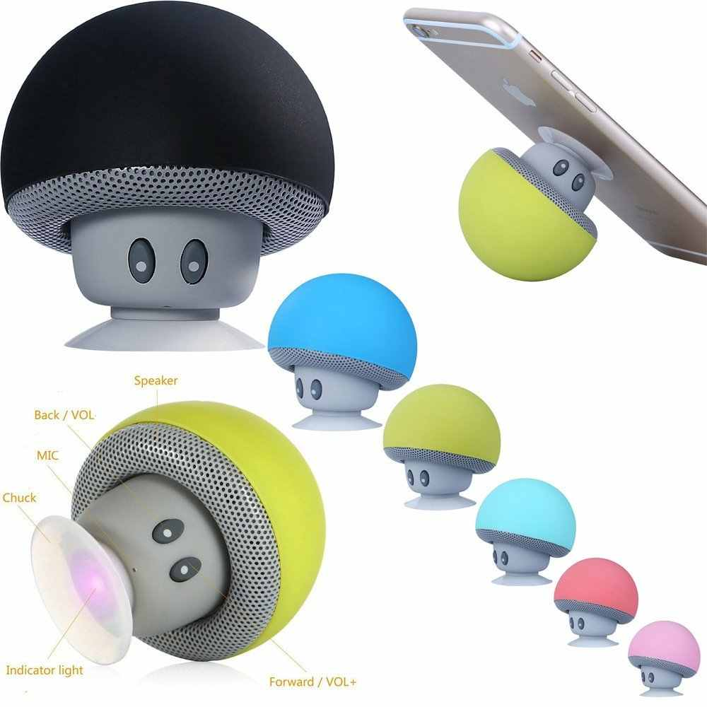 Cartoon Paddestoel Draadloze Bluetooth Speaker Waterdichte Sucker Mini Bluetooth Speaker Audio Outdoor Draagbare Beugel