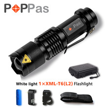 POPPAS CREE XML-L V6 The Third Generation L2 LED LIGHT Adjustable Focus Zoom BIg Waterproof Flashlight Torch 5-Modes 1200 lumens