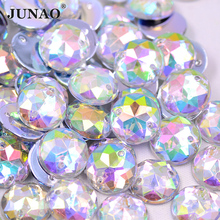 JUNAO 6 8 10 12 18 20 30 52mm Sew On Clear AB Rhinestones Appliques Flatback Round Acrylic Crystal Stones Sewing Scrapbook Beads