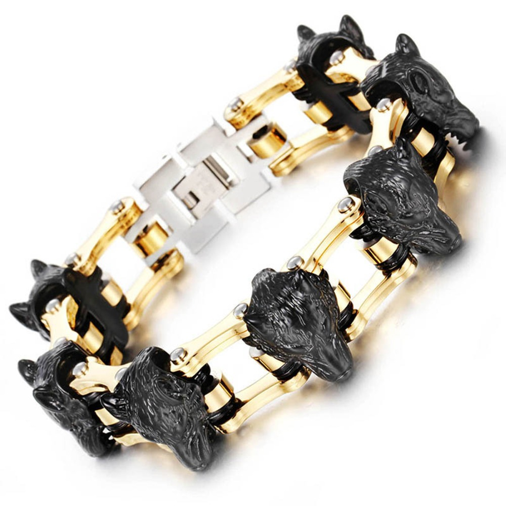Black Tone Wolf/Lion Head Design 316L Stainless steel Bracelets bangles Bike Chain Bracelet Men Stainless Steel Biker Bracele sda 24mm width punk 316l stainless steel bracelet men biker bicycle motorcycle chain men s bracelets mens bracelets