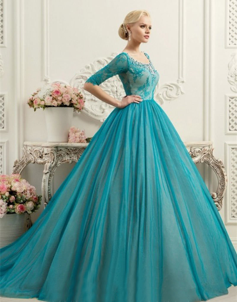 Blue And White Ball Gowns OMY211 elegant ...