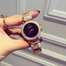 Женская мода Платье Смотреть Роскошные Дамы Повседневная Горный Хрусталь Блестящие Розовое Золото Кварцевые часы Наручные Часы Relogio Feminino OP001