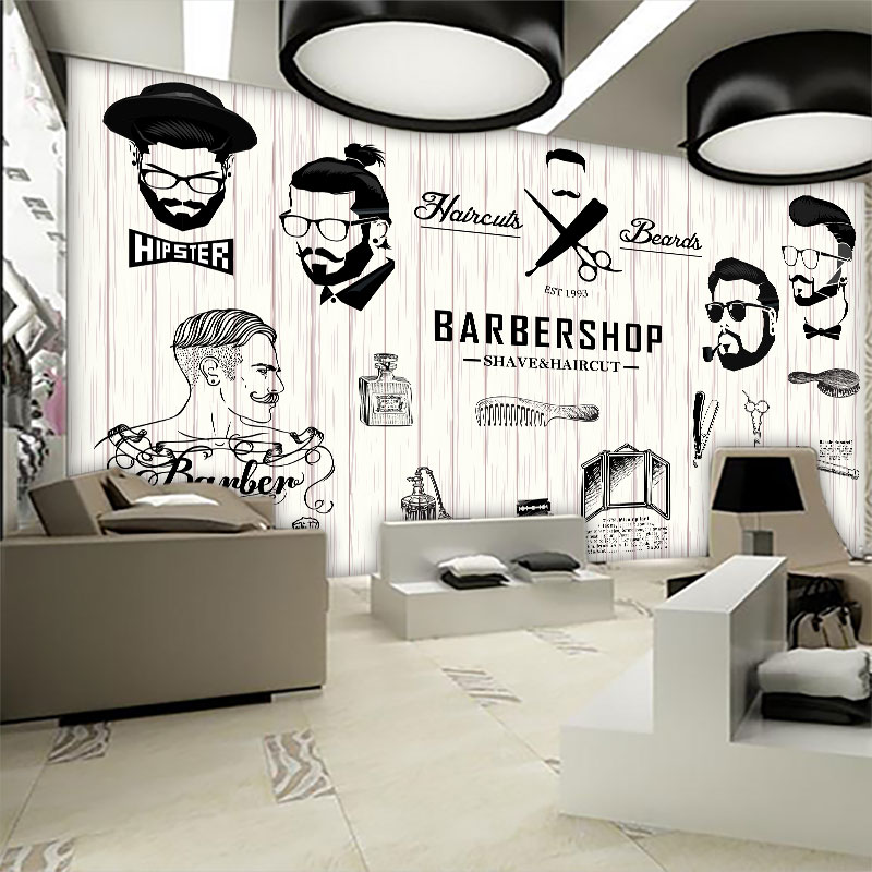 Custom Mural 3d Beauty Barber Mural Salon Barber Shop Fashion