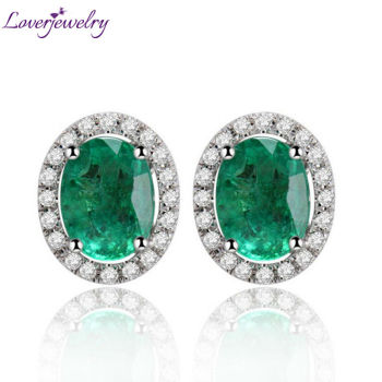 Oval 6x8mm Solid 14Kt White Gold Diamond Emerald Earrings Studs Emerald Fashion Earrings Jewelry In 585 White Gold E0053