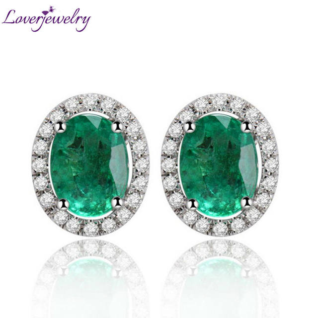 Oval 6x8mm Solid 14kt White Gold Diamond Emerald Earrings Studs Fashion Jewelry In 585 E0053
