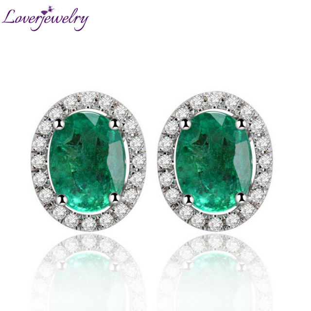 Women Oval 6x8mm Solid 14k In 585 White Gold Natural Diamond Emerald Earrings Studs Fashion