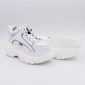 Image 5 - Baskets en cuir PU à plateforme pour femmes, blanc, abricot, 2020 printemps automne, mode chaussures décontractées