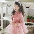 Ребенок Девочка Кружева Платье Балетной Пачки Детская Одежда Корейский Стиль Сладкая Принцесса Качество Одежды Для Свадьбы, розовый/Синий