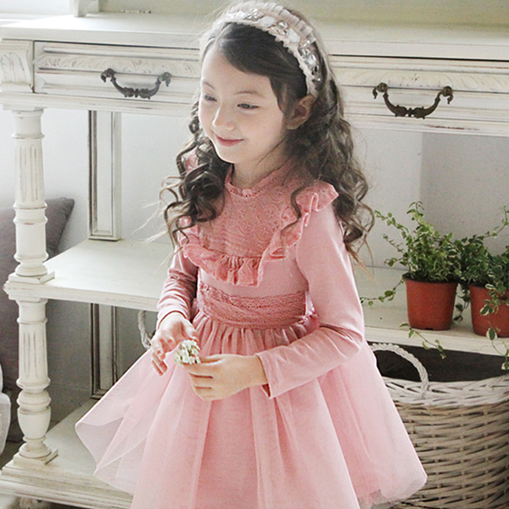 Child Baby Girl Lace Tutu Dress Kids Clothing Korean Style Sweet Princess Quality Clothing For Wedding, Pink/ Blue рюкзак hama sweet owl pink blue