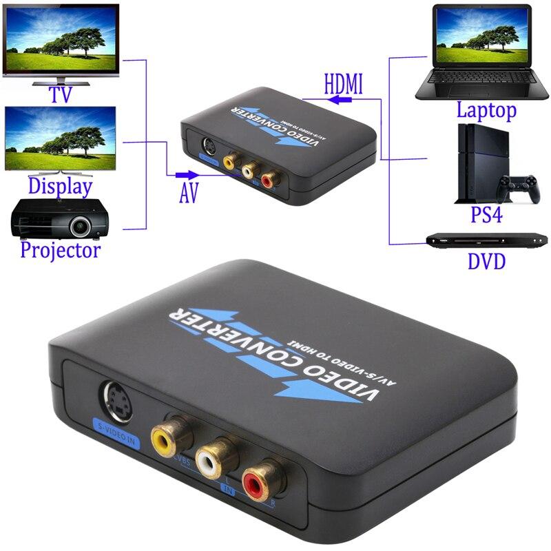 New S-Video & Composite RCA To HDMI Converter AV Adapter R/L Audio 1080P mini 1080p hdmi to av s cvbs rca s video composite video audio converter w usb cable main unit power supply set