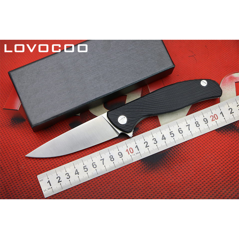 LOCOVOO HATI BAS VERSION Flipper couteau pliant D2 lame G10 poignée Extérieure camping chasse couteaux de poche EDC outils Survie