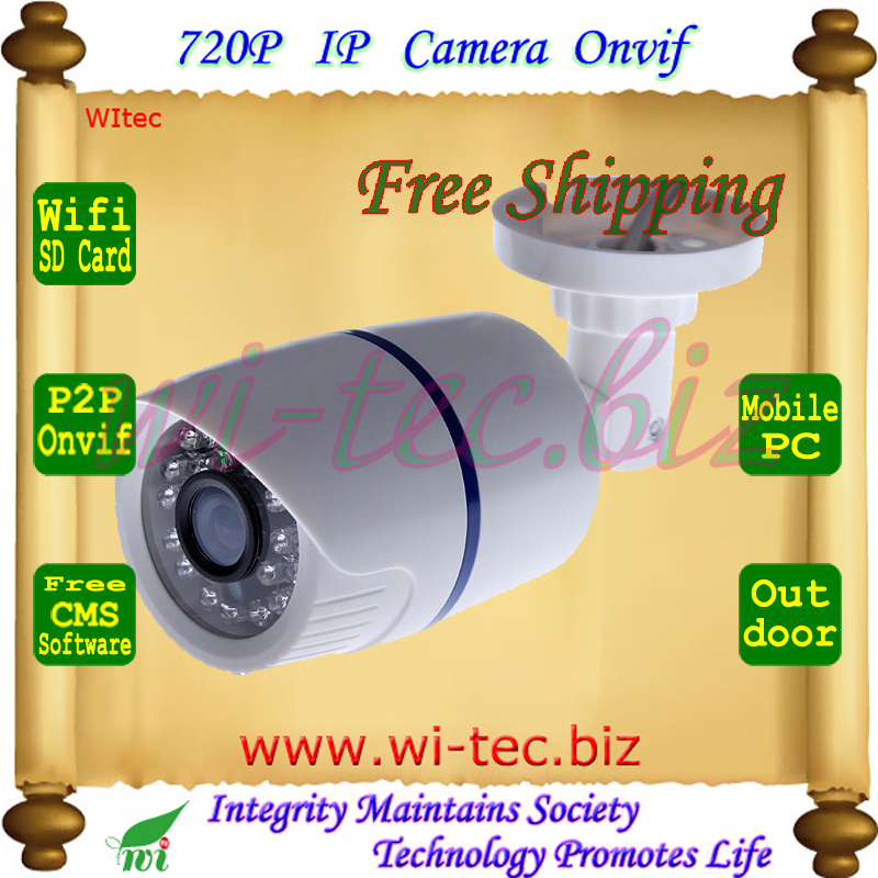 SD Card Built in WIFI 720P IR Security Bullet ONVIF Waterproof Night Vision P2P IP Cam IR Cut 1.0MP Network Megapixel Camera wifi wired security ip camera 1080p 2 0mp onvif p2p ir cut motion detection with sd card remote viewing bullet cctv security cam