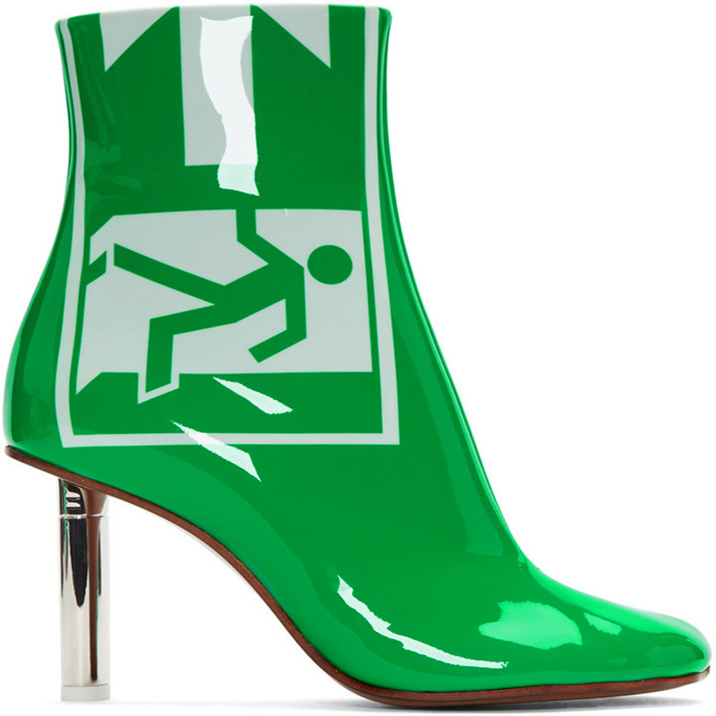 2018 Europe and the United States autumn and winter new boots leather green patent leather exit safety lighter with high-heeled europe and the united states 2015 new spring shoes and high heeled shoes asakuchi pointy suede 35 41 code