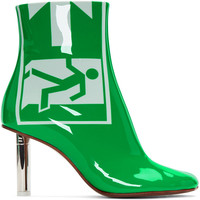2018 Europe and the United States autumn and winter new boots leather green patent leather exit safety lighter with high heeled