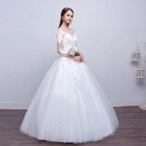 Image 3 - Luxury Sexy Real Photo Princess Elegant Wedding Dresses 2020 New Three Quarter Sleeve Lace Flower Bridal Gowns Vestidos De Noiva