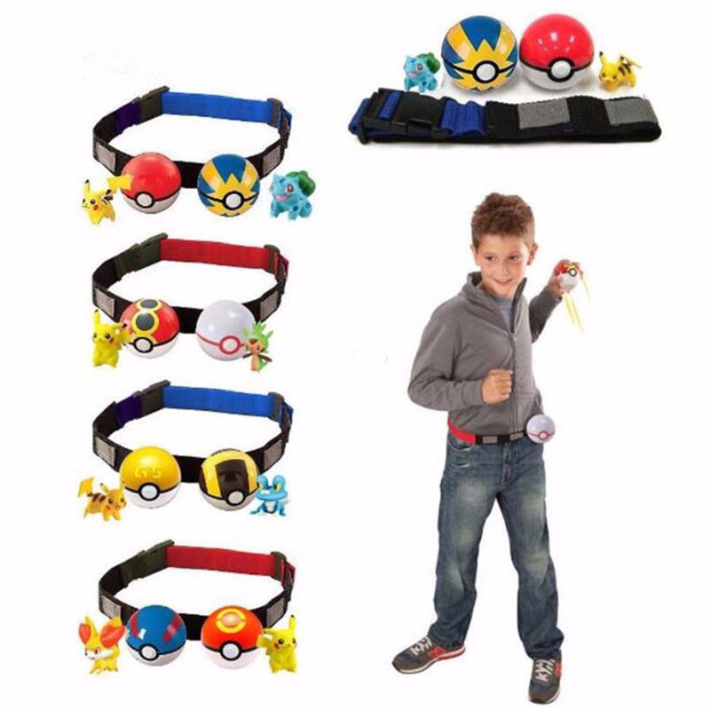 <font><b>Pokeball</b></font> Clip N Carry Cross <font><b>2</b></font> Pokeballs <font><b>Random</b></font> Figure Pikachu Action Figures Toy with Adjustable Belt Kids Toys Gift