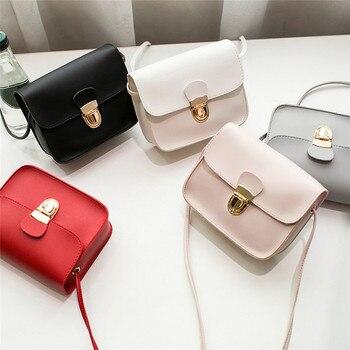 Cute Women Fashion Solid Colour Cover Lock Crossbody Handbag