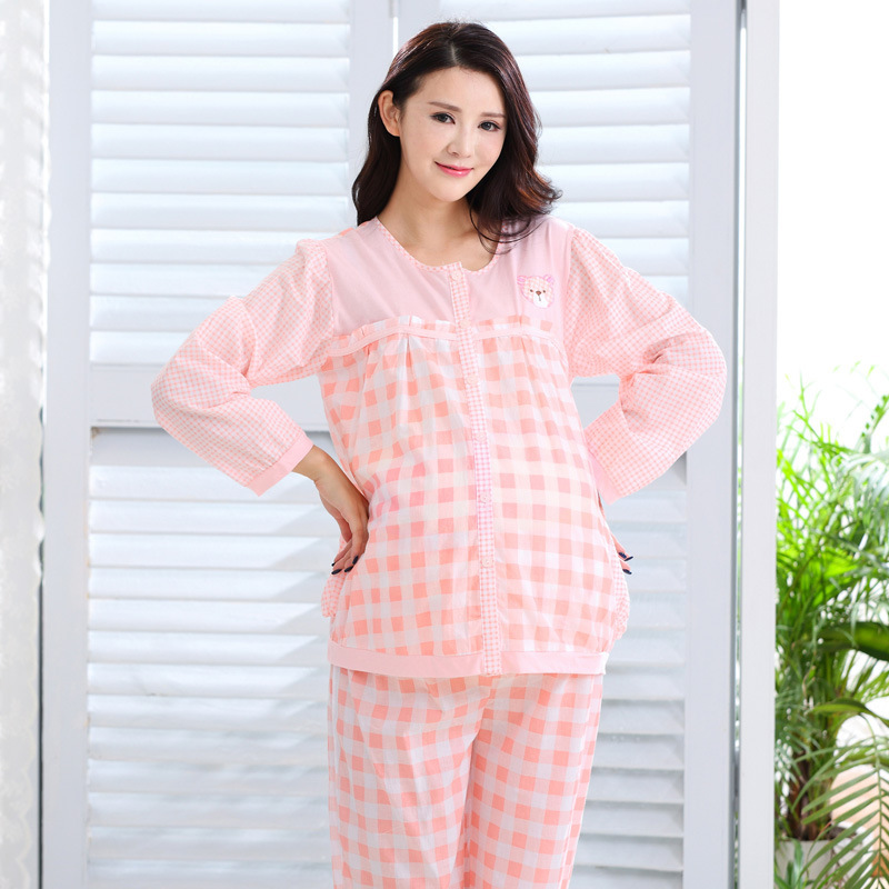 Maternity Nursing Pajamas Breastfeeding Outfits Clothes Pregnancy Plus Size Sleepwear for Pregnant Women Pink Plaid Nursing Sets