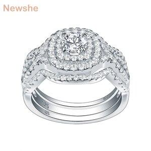 Image 3 - Newshe 3 adet 925 ayar gümüş alyanslar kadınlar için 2.1Ct AAA CZ nişan yüzüğü seti klasik takı boyutu 5 12