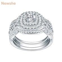 Newshe 3 adet 925 ayar gümüş alyanslar kadınlar için AAA CZ nişan gelin seti klasik takı boyutu 5 12