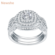 Newshe 3Pcs 925 Sterling Silver Wedding Rings For Women  AAA CZ Engagement Bridal Set Classic Jewelry Size 5 12