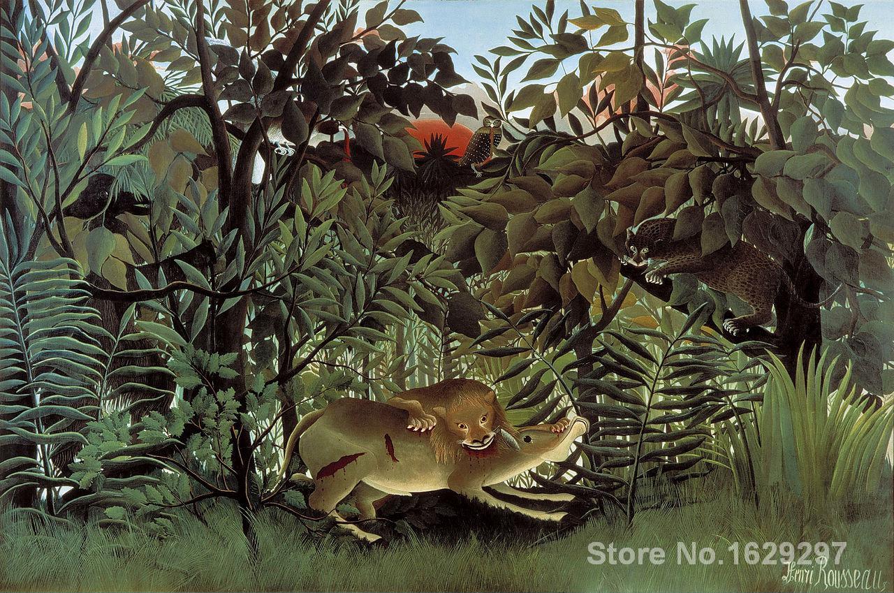Peintures colorées modernes le Lion affamé se jette sur l'antilope d'henri Rousseau peint à la main de haute qualité