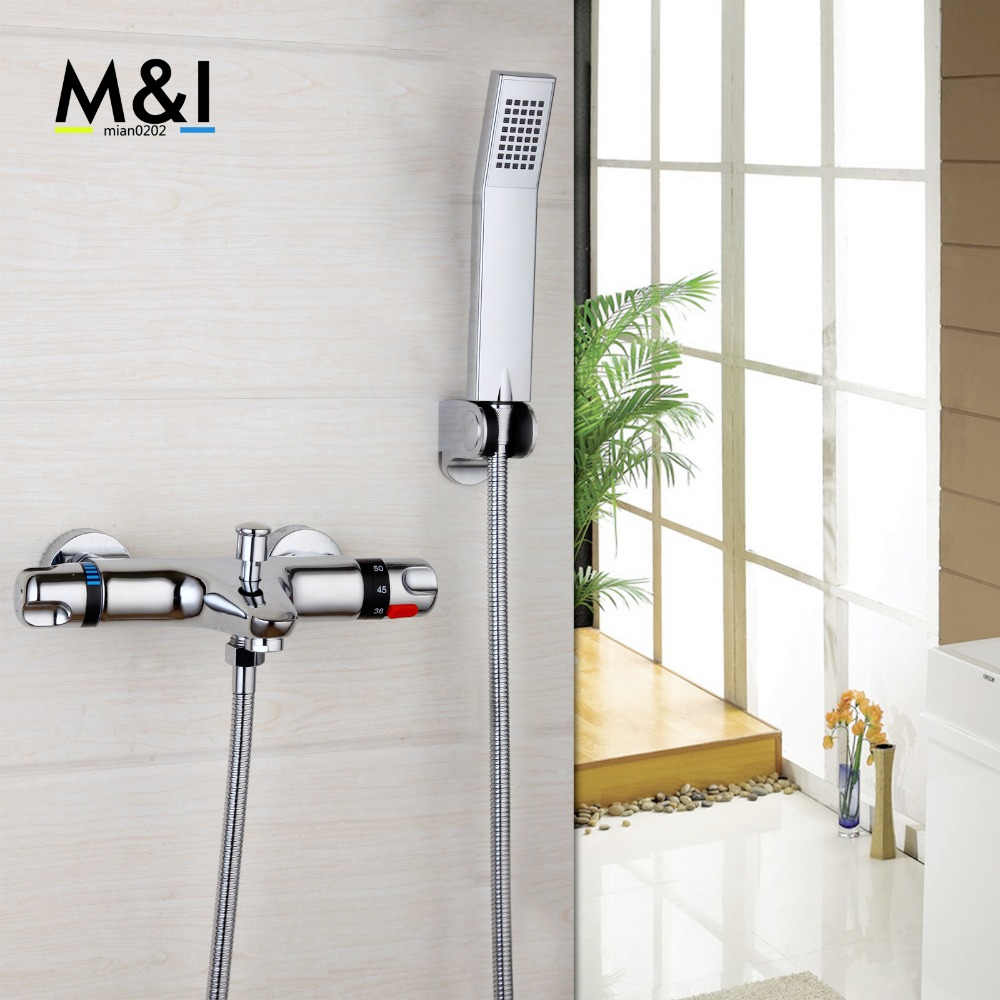 YANKSMART Bathroom Wall Mounted Thermostatic Faucets Set Polished Chrome Mixer Tap Shower Set Rain Bathtub Faucets Set polished chrome double cross handles wall mounted bathroom clawfoot bathtub tub faucet mixer tap w hand shower atf902
