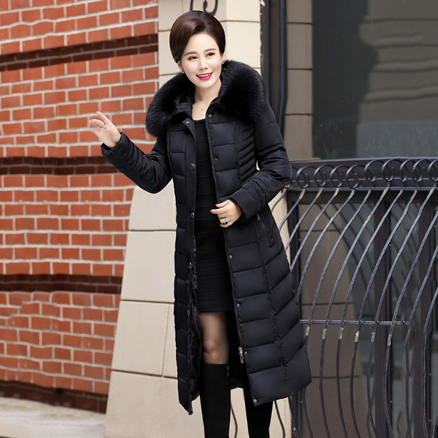 Winter Jacket New middle-aged Long section Cotton Outerwear Thickening Hooded Fur collar Cotton Parkas Large size L-5XL DD280 3
