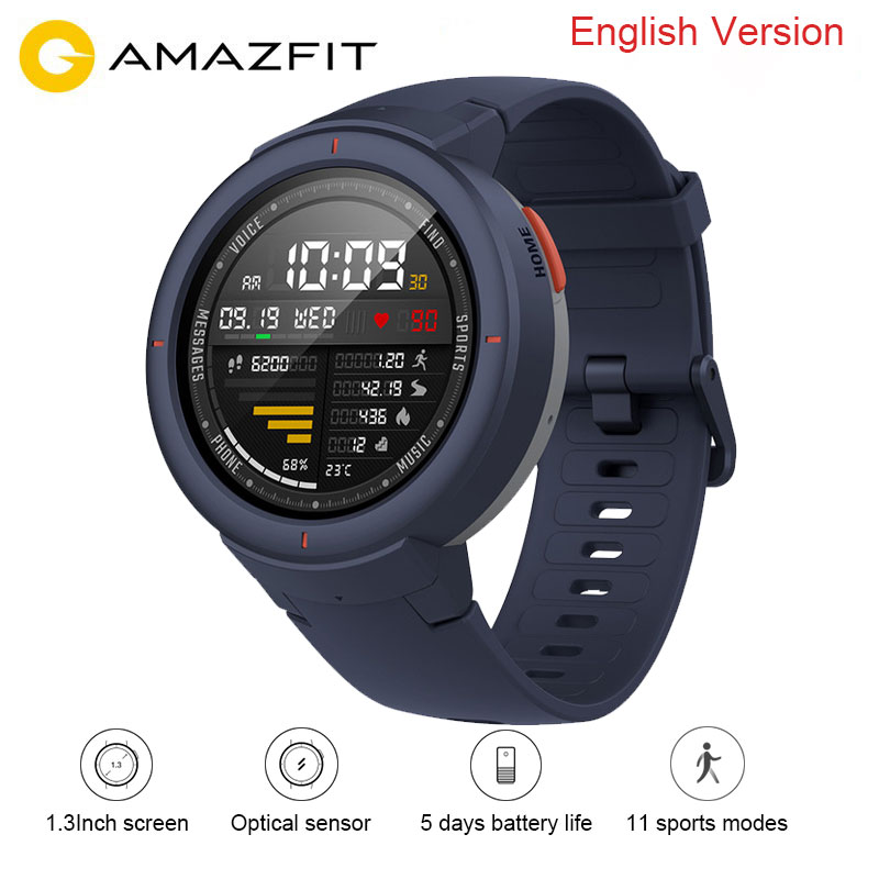 Xiaomi Amazfit Verge English Version Smart Watch Huami Mi 1 3 Inch AMOLED Screen Upgraded HR