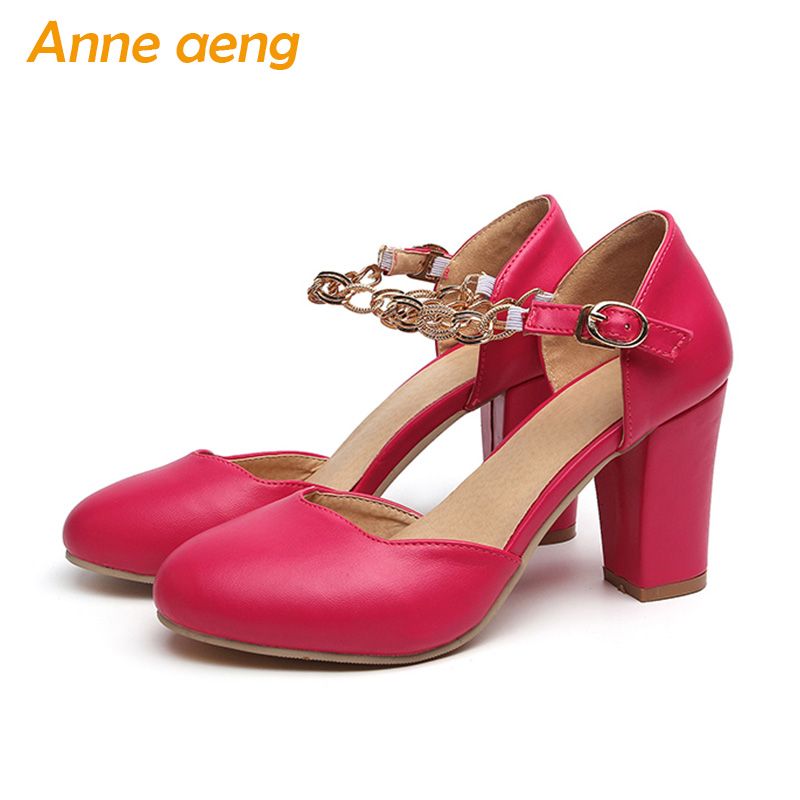 women sandals high cover heel round toe buckle strap metal chain sweet Mary Janes pink red white shoes women big size 44 45 46 ladies 1 7 sexy pointed toe back strap western mixed color high heel sandals shoes women big size shoes 4 14 pink blue white