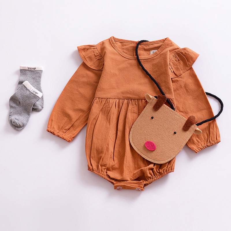 Spring Summer 2018 Newborn Infant Baby Girl Romper Solid Linen Cotton Long Sleeve Romper ...