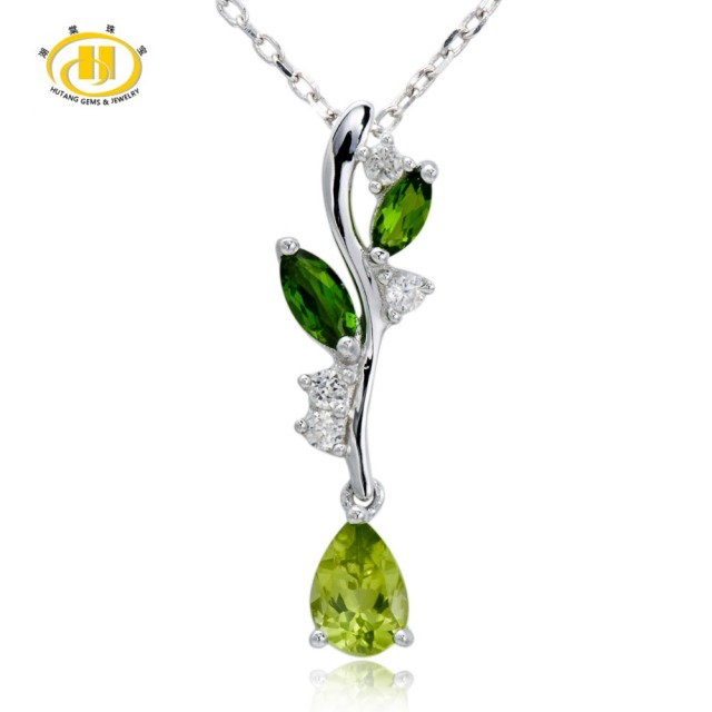 Hutang 131ct peridot chrome diopside solid 925 sterling silver hutang 131ct peridot chrome diopside solid 925 sterling silver leaf pendant necklace fine jewelry mozeypictures Image collections
