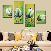 Perfect Abstract Green Flower Oil Paintings 4 Panel Group Canvas Painting 100% Hand Painted for Living Room Home Decor Unframed