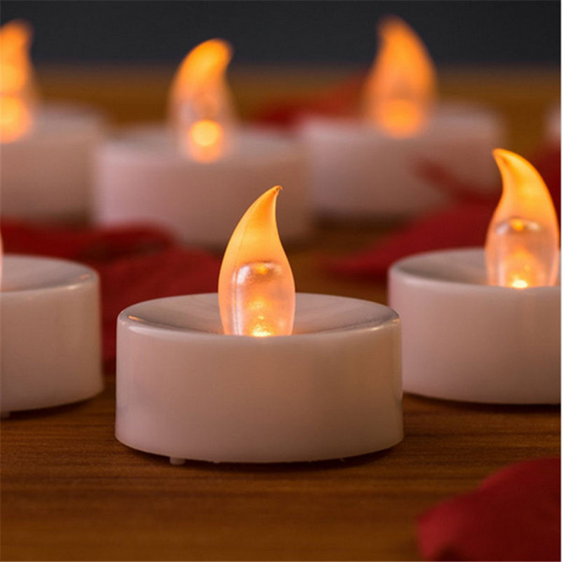 24pcs Amber flicker Votive Candle Battery Operated led tea Light Battery  Powered kaars candela for Votive