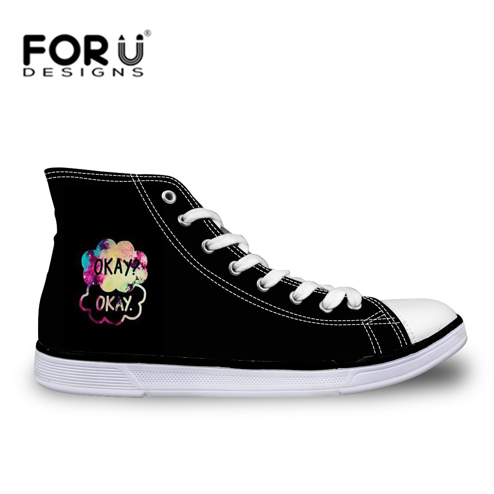 FORUDESIGNS Custom Names High-top Vulcanize Shoes Casual Lace-up Canvas Shoes for Men Students Flat Shoes Cool Cats Print Flats цена