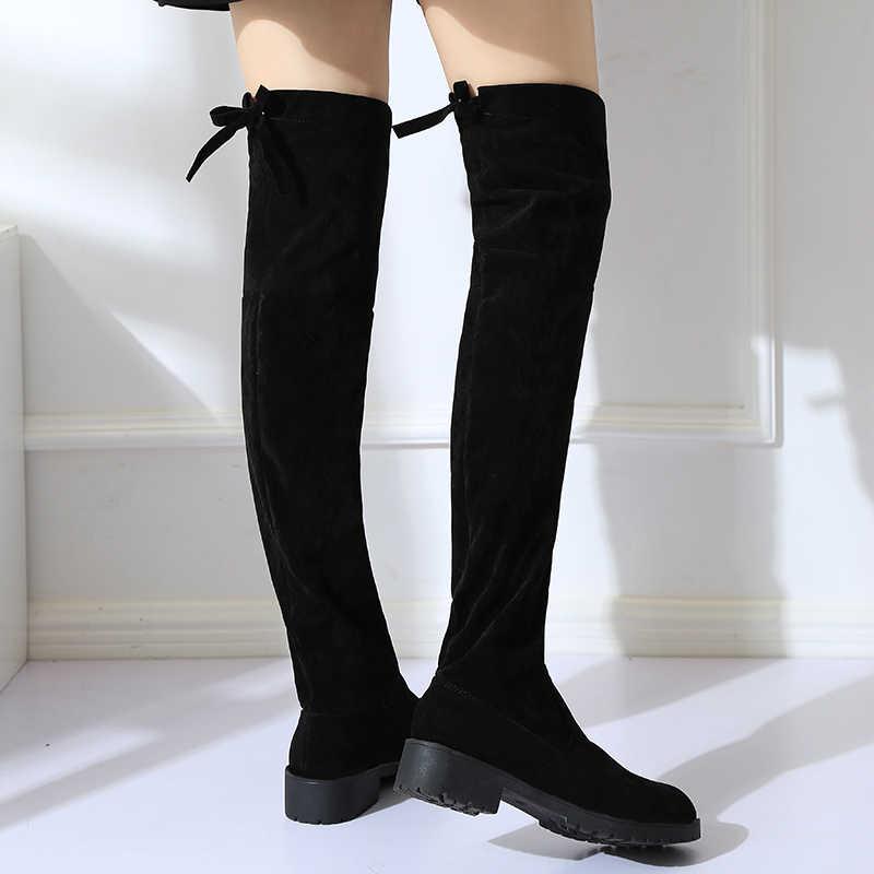 2018 NIEUWE Hoge Laarzen Vrouwelijke Winter Laarzen Vrouwen Over de Knie Laarzen Platte Stretch Sexy Mode Schoenen Zwart EUR34--43 rijden laarzen